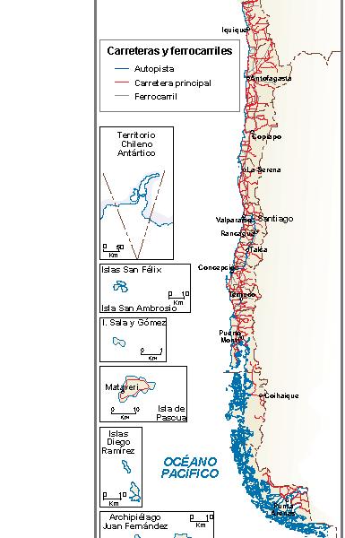 Chile mapa comunicaciones
