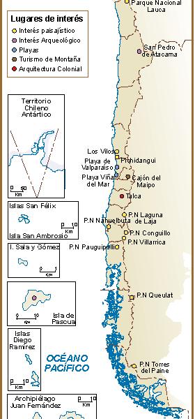 Chile mapa turistico