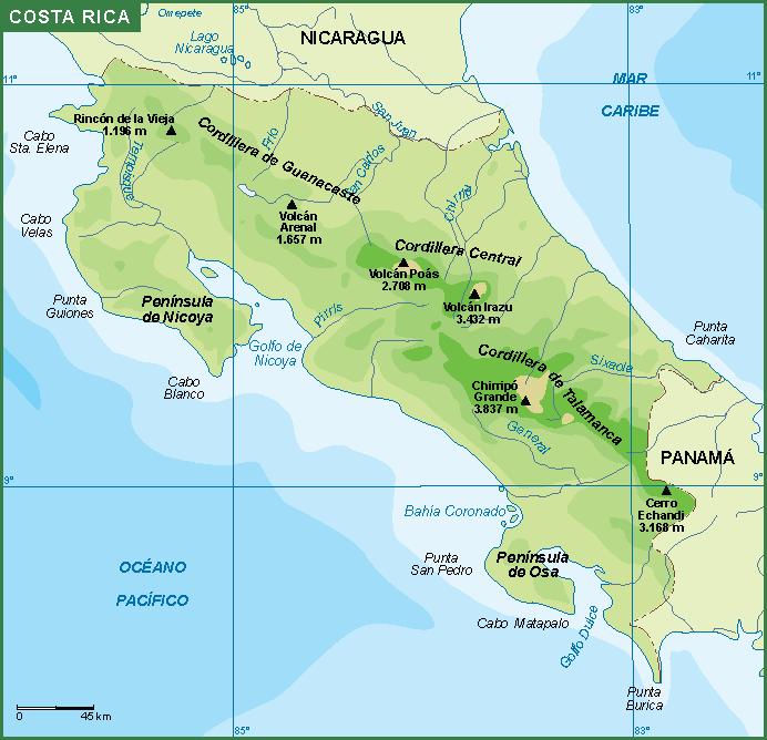 Mapa De Costa Rica.Costa Rica Mapa Fisico
