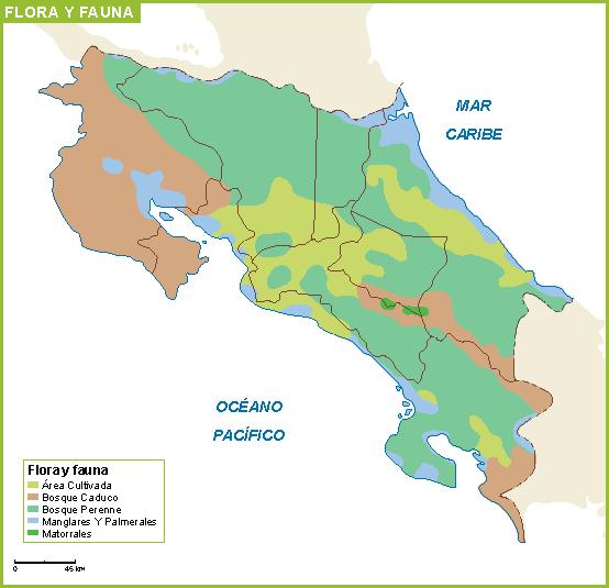 Costa Rica mapa flora fauna