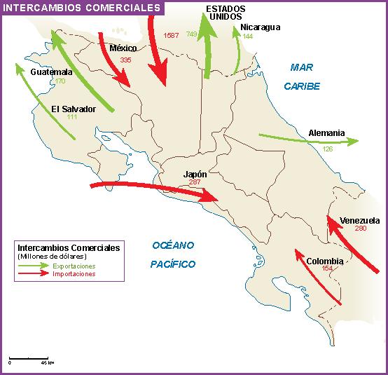 Costa Rica mapa intercambios comerciales