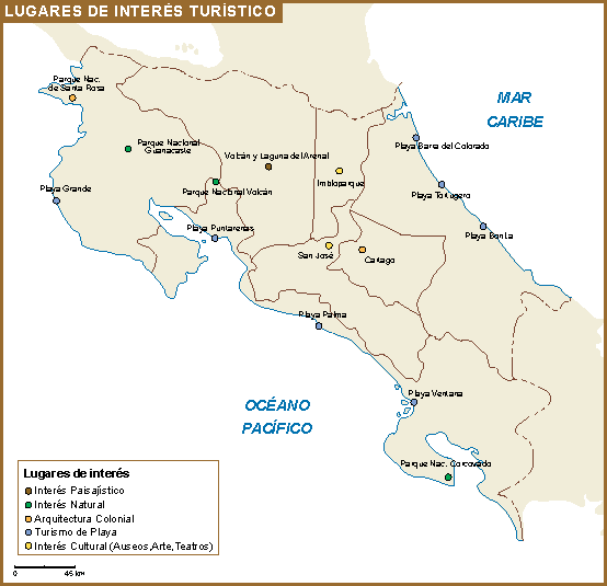 Costa Rica mapa interes turistico | Vector World Maps
