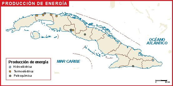 Cuba mapa energia
