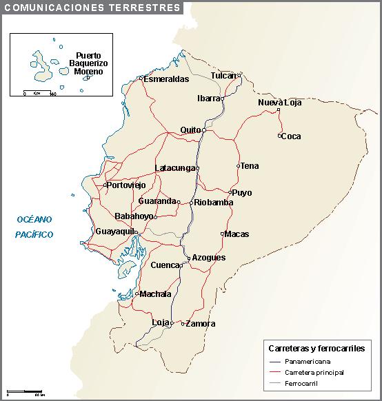 Ecuador mapa comunicaciones terrestres