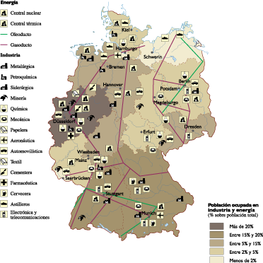 Map Of Germany Natural Resources.Germany Economic Map