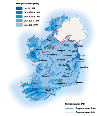 Country Map Of Ireland.Ireland Climate Map Vector World Maps
