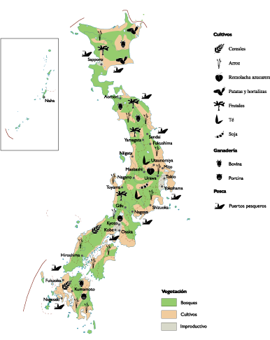 Japan Agricultural map