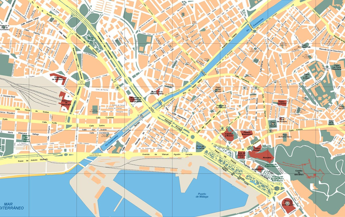 Malaga Vector Map on center of budapest map, center of bangkok map, center of milan map,