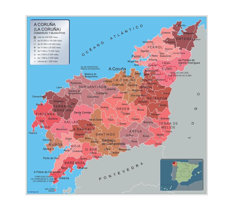 A Coruña Mapa España.Mapa Municipios A Coruna