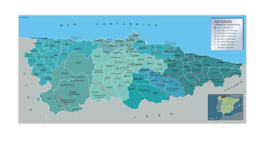 Mapa Municipios Asturias Vector World Maps