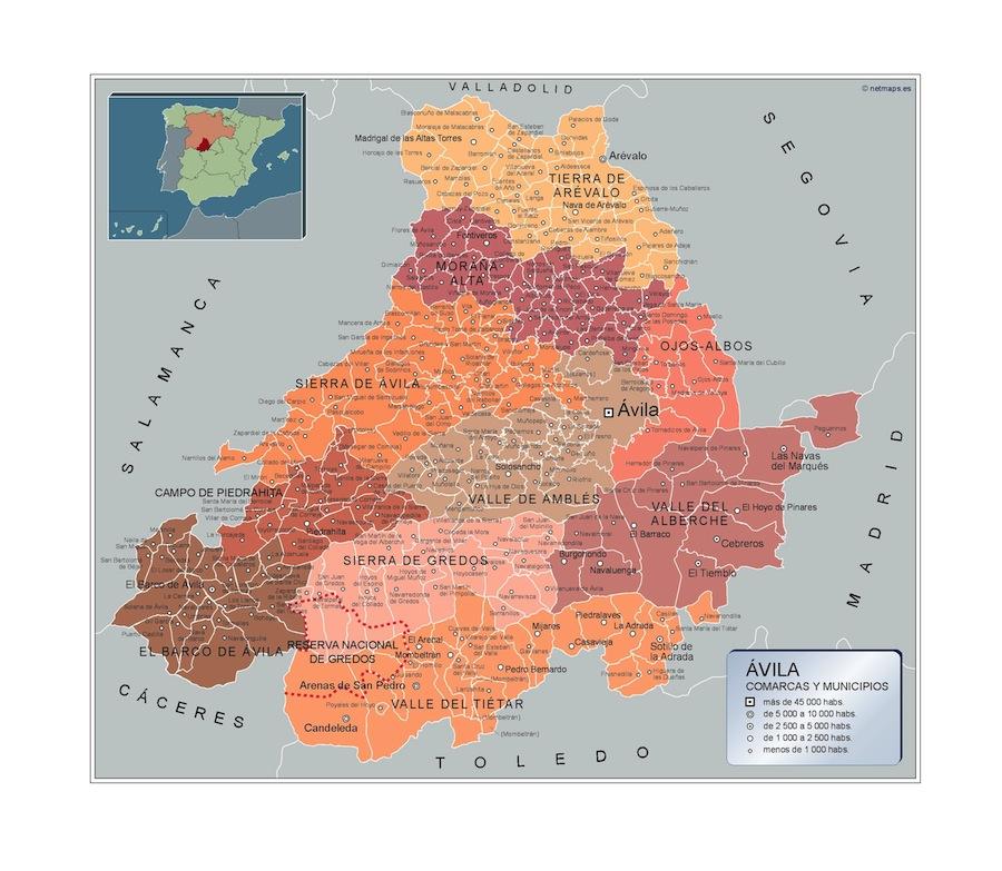 Mapa Municipios Avila Vector World Maps