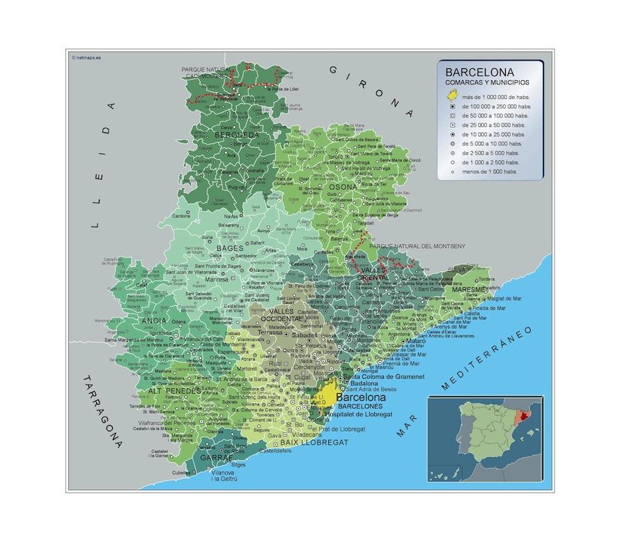 Barcelona En El Mapa.Mapa Municipios Barcelona Vector World Maps