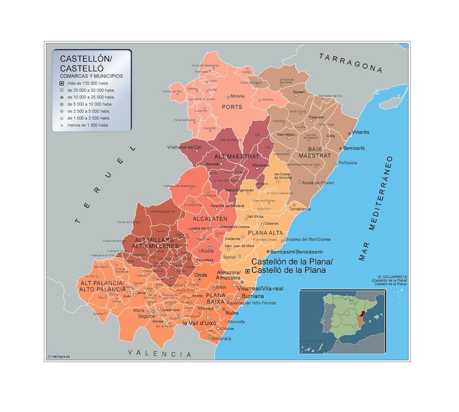 Municipios Provincias Espana Vector Wall Maps From Netmaps
