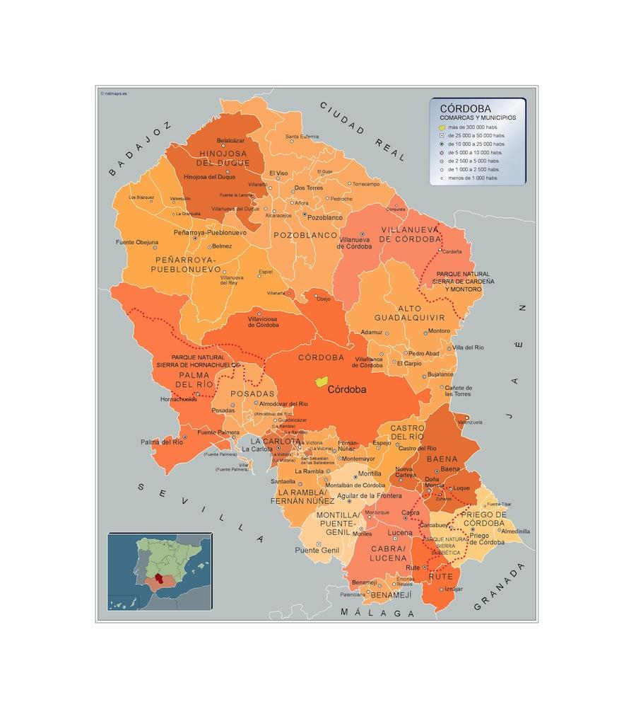 Mapa Provincia De Cordoba España.Mapa Municipios Cordoba