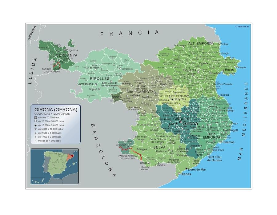 Mapa Municipios Girona Vector World Maps