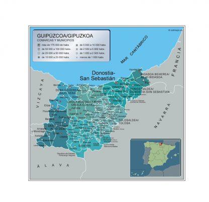 Mapa Municipios Guipuzcoa Vector World Maps