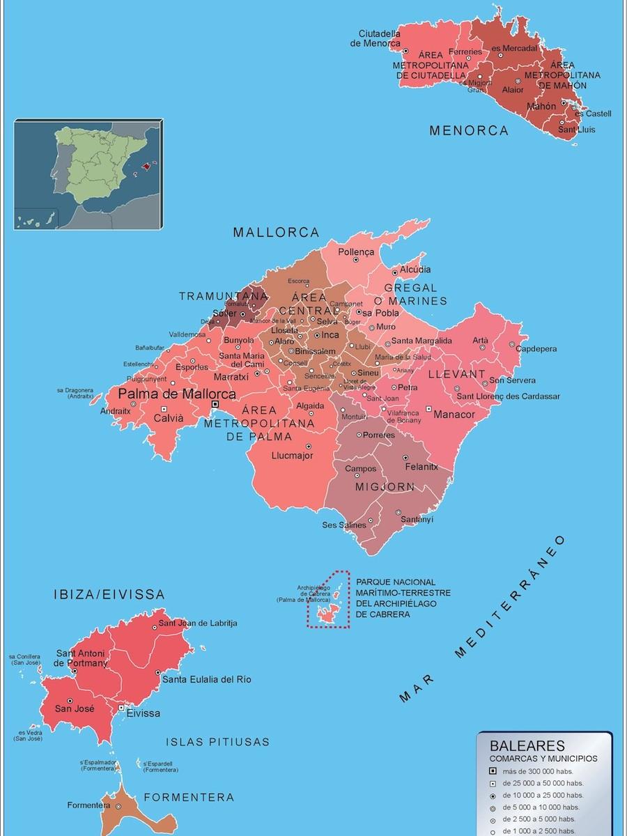 Mapa De Mallorca Municipios.Mapa Municipios Illes Balears