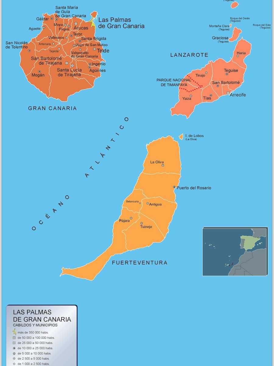 Map Of Spain Gran Canaria.Mapa Municipios Las Palmas Gran Canaria