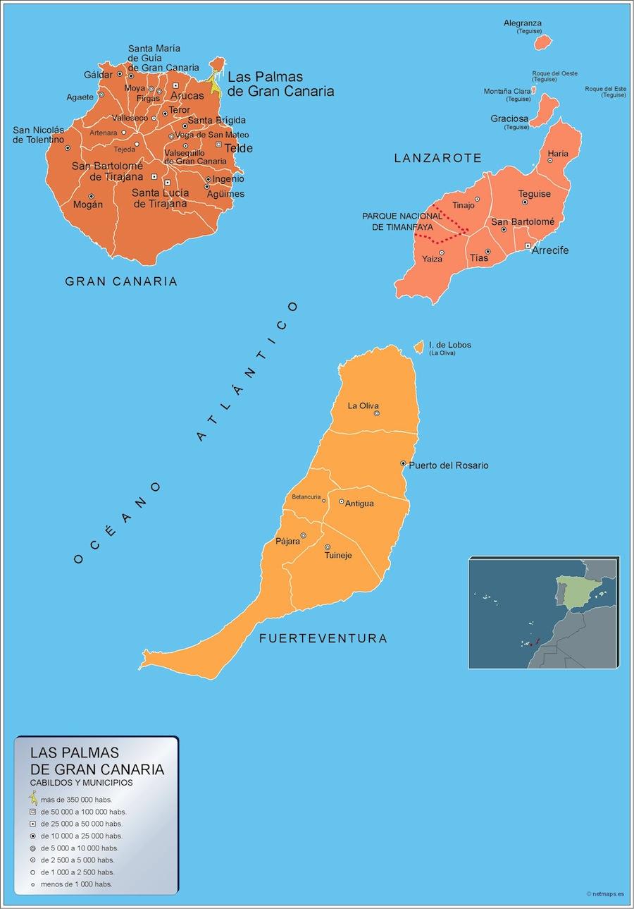 Mapa Municipios Las Palmas Gran Canaria Vector World Maps