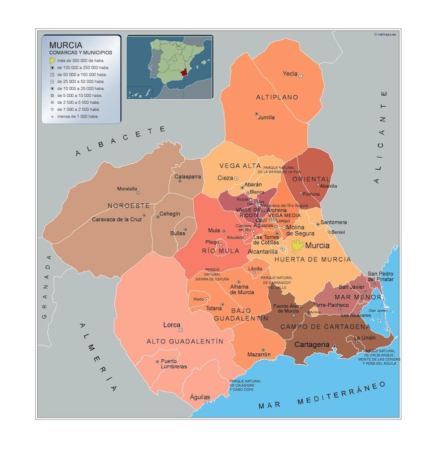 murcia mapa Mapa Municipios Murcia | A vector eps maps designed by our  murcia mapa