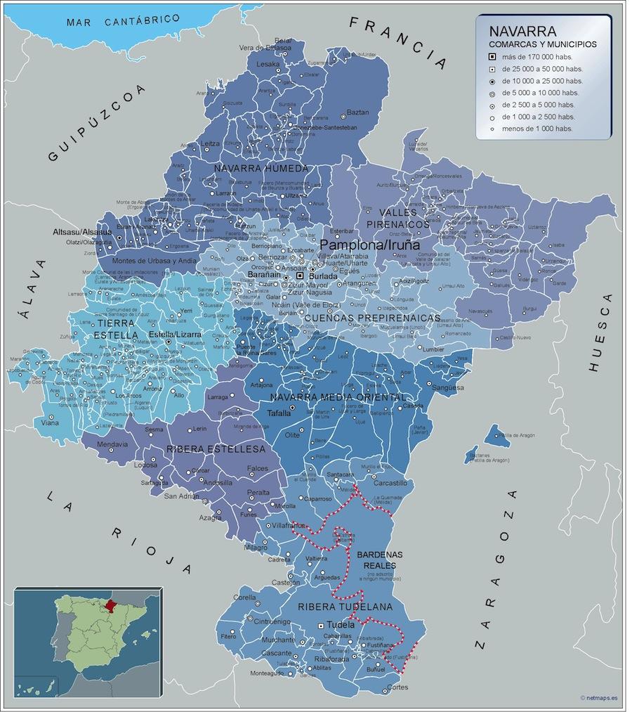 Mapa Municipios Navarra Vector World Maps