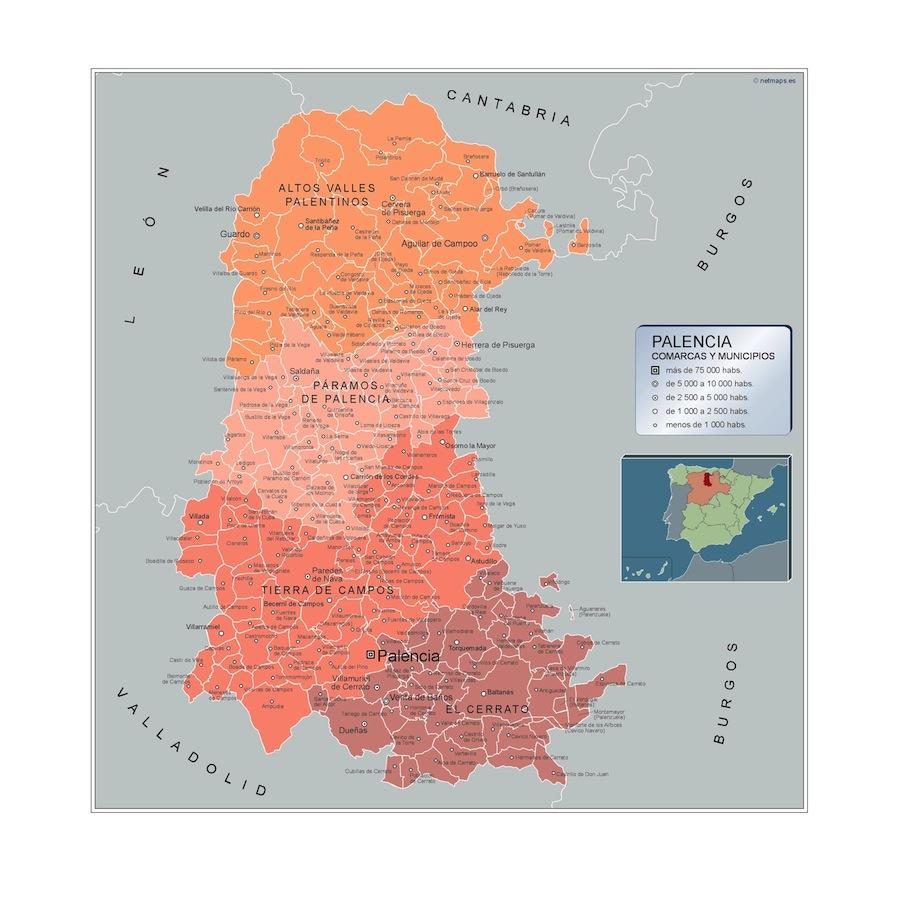 Mapa Municipios Palencia Vector World Maps