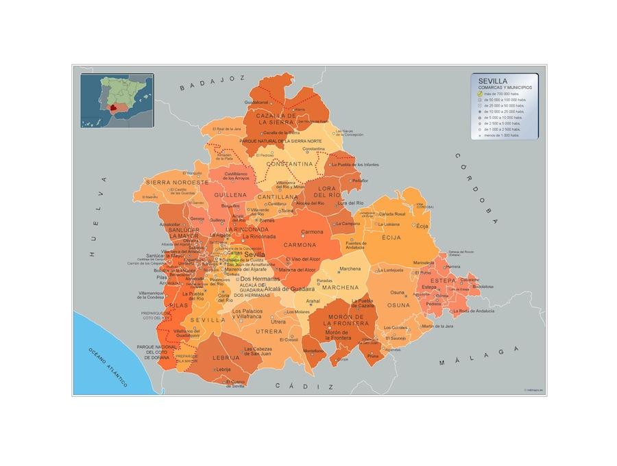 Mapa Municipios Sevilla Vector World Maps