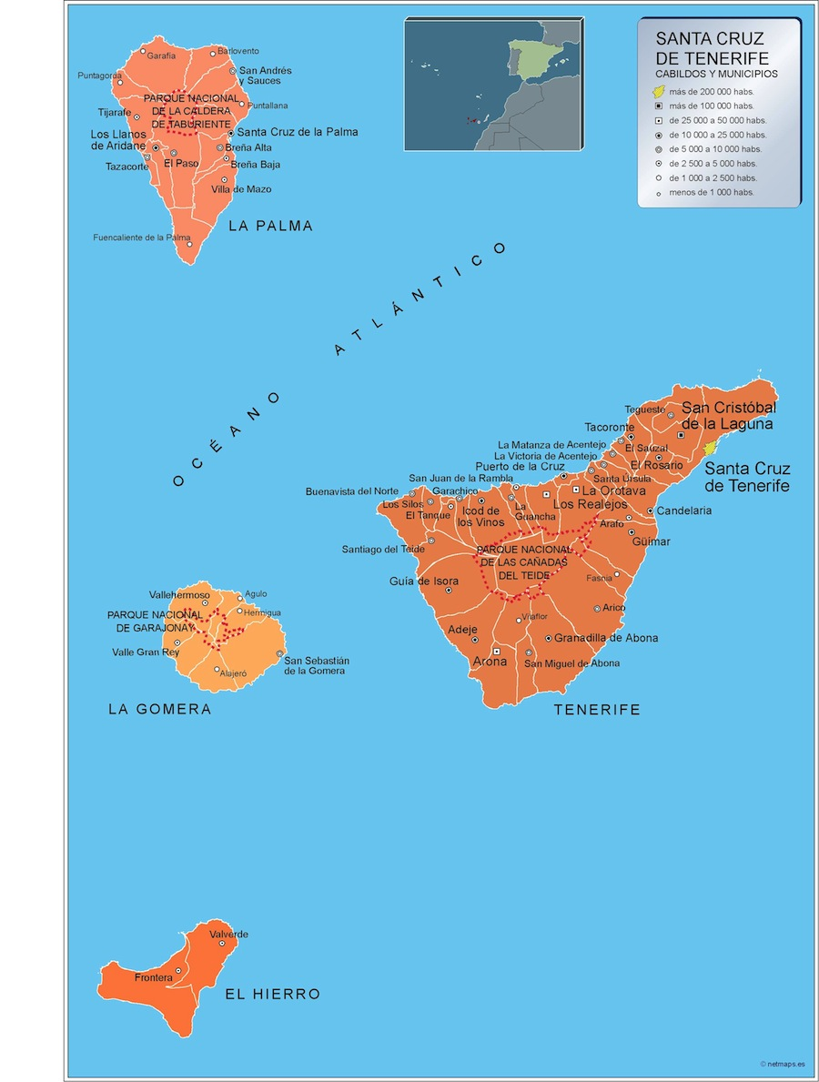 Mapa Municipios Tenerife   Vector World Maps
