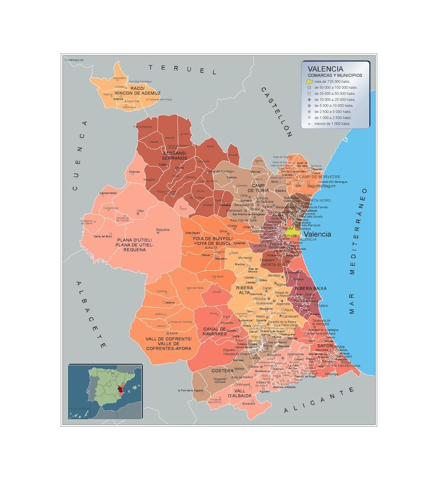 Mapa Municipios De Valencia.Mapa Municipios Valencia