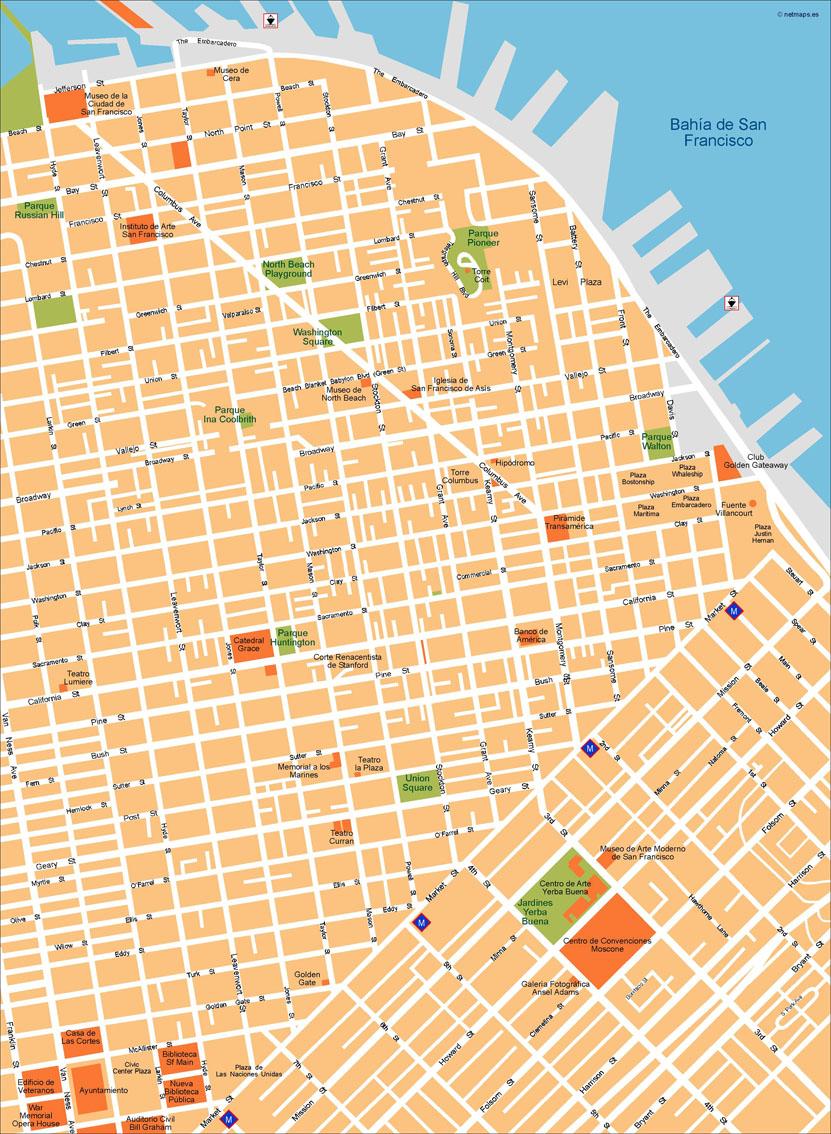 San Francisco Vector Map | Vector World Maps