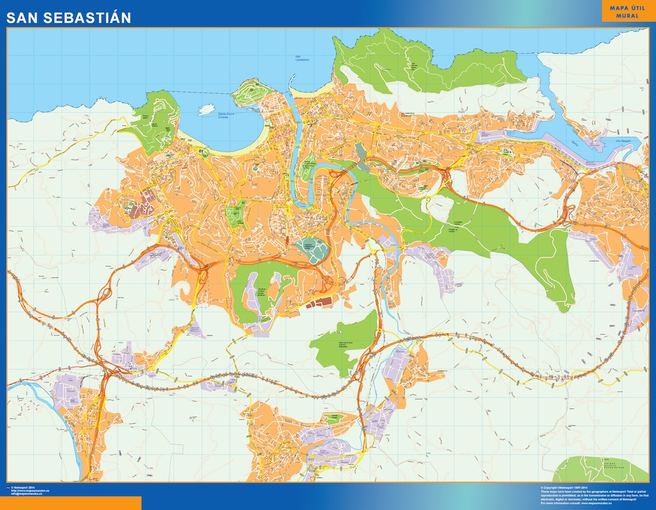 San Sebastian España Mapa.San Sebastian Mapa Vinilo