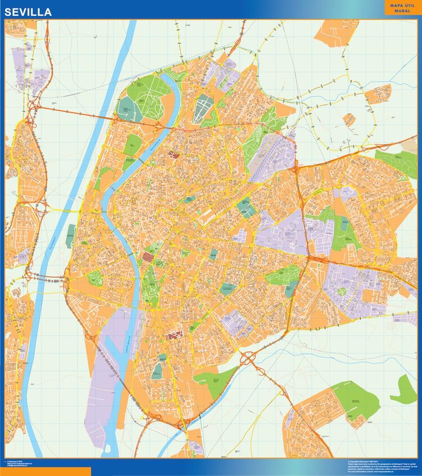 Sevilla Mapa Vinilo Vector World Maps