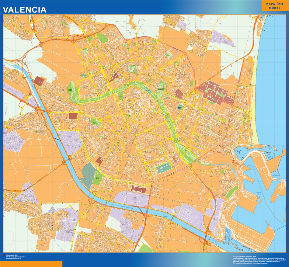 Valencia Mapa Vinilo Vector World Maps